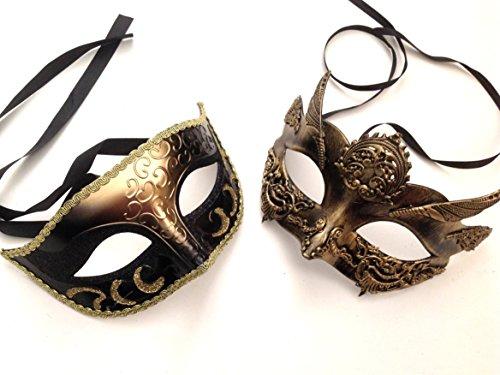 Black Gold Masquerade Ball Mask Pair Dance Prom Burlesque Graduation Steampunk -