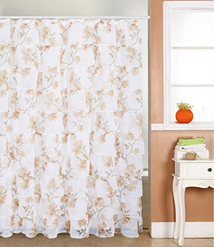 spring Home FLAMENCO Gypsy Ruffled SHEER Shower Curtain (LIGHT BROWN FLOWER) (Flower Shower Curtain Ruffle)