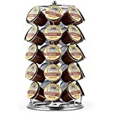K Cup Holder,Oak Leaf Coffee Storage Spinning Carousel Organizer for Keurig K-Cups - 35 Pod, Electroplated