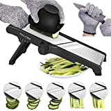 Mandoline Slicer, 3 in 1 Stainless Steel Mandoline Slicer Adjustable Kitchen Food Mandolin Vegetable Julienne Slicer Chopper Cutter for Fruits from Paper Thin to 9mm(Safety Gloves Included)