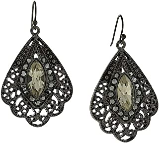 product image for 1928 Jewelry Black Metal Filigree And Dark Gray Crystal Butterfly Wing Earrings