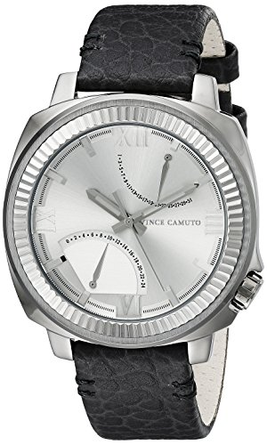 Vince Camuto Men's VC/1003SVDS The Veteran Silver-Tone Dial Dark Grey Leather Strap Watch