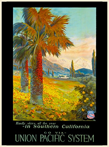 Kindly Skies all year in Southern California go via Union Pacific System Vintage Railways Railroad United States of America Travel Advertisement Art Poster. Poster measures 10 x 13.5 inches