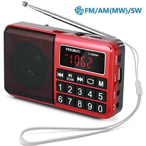 PRUNUS Portable Radio SW/FM/AM(MW)/MP3/USB/SD/TF Rechargeable with Neodymium Speaker. Large Button and Large Display. Stores Stations Automatically. (NO Manual Memory/Delete Stations Function) (Am Fm Sw Portable Radios)