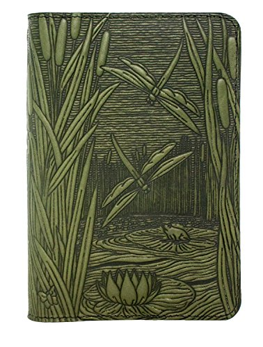 Oberon Design Dragonfly Pond Pocket Notebook Cover | Fits 5.5 x 3.5 Inch Notebooks, Embossed Leather, Fern Color | Made in the USA (Design Dragonfly)