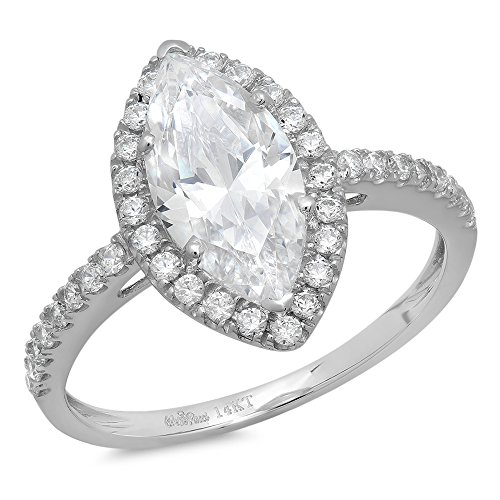 2.48 CT Marquise Cut CZ Halo Solitaire Wedding Engagement Ring Bridal Band 14k White Gold, Size 7