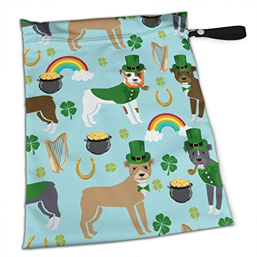 St Patricks Day Leprechaun Pitbull Dog Rainbow Premium Wet Bag Baby Wet Dry Cloth Diaper Nappy Stroller Bags Waterproof Reusable Wet Bags for Swimsuit Wet Clothes Baby Items with Zipper]()