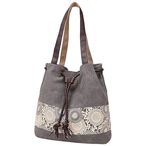 Women's Bohemian Handbag Shoulder Wocharm Bag Ladies Vintage Canvas Hobo Grey Totes EqEzw0t