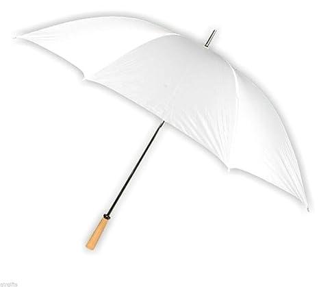 Paraguas grande de novia, para golf, XXL, 127 cm, blanco, mango