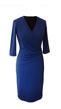 ca60dbc083a Klassisches V-Ausschnitt Jersey-Kleid Bleistiftkleid Viele Farben Gr 38 40  42 44 46 48 50 52 54 auch große Größen  Amazon.de  Bekleidung