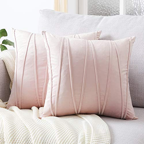 Top Finel Square Decorative Throw Pillow Covers Soft Velvet Outdoor Cushion Covers 18 X 18 for Sofa Bed, Set of 2, Pink (Blush Shams Pillow)