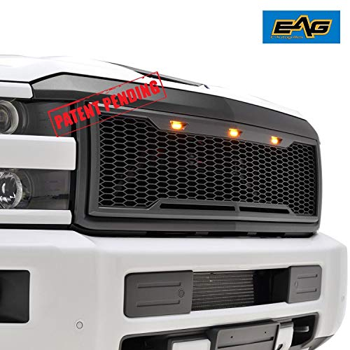 EAG Replacement Upper Grille ABS Mesh Grill withAmberLEDLights -MatteBlack - Fit for 15-18 Chevy Silverado 2500 3500 Heavy Duty