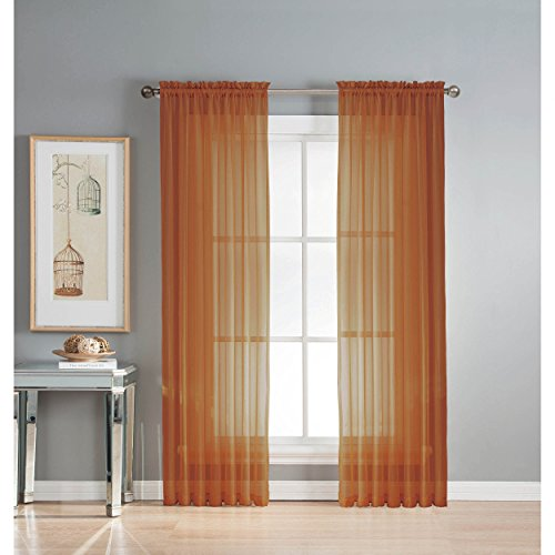 Window Elements Sheer Voile Rod Pocket Extra Wide 54 x 84 in. Curtain Panel, Rust (Window Covering Ideas)