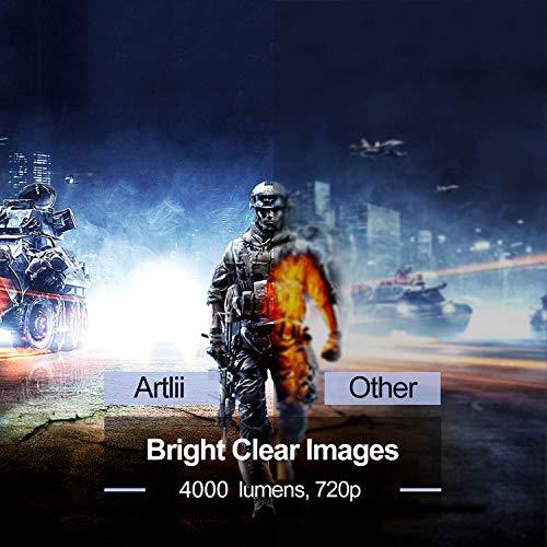 Proyector HD, Artlii Proyector LED 3500 Lúmenes, Proyector Cine en Casa,Soporte 1080p Full HD, HDMI x 2, AV, USB, VGA,...