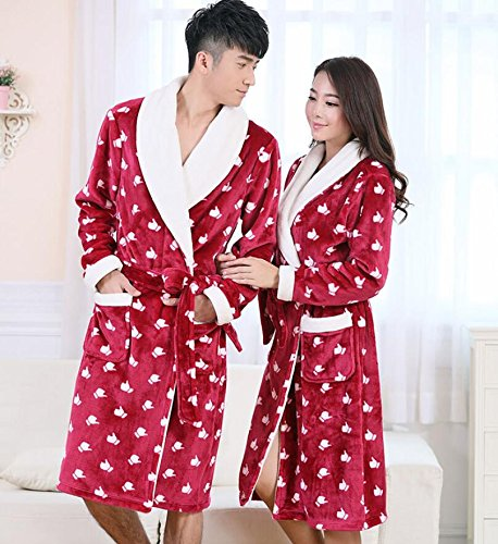 GL&G Flannel couple breathable nightgown bathrobe to increase thepajamas comfort fashion gown bathrobes,Men,L by GAOLIGUO (Image #1)