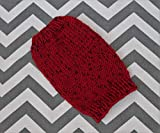 Puppy XXS 2-2.5 - 3 lbs Rustic Hand Knit Dog Sweater in Cranberry Red Tweed Style Yarn Teacup Shih Tzu Chihuahua Toy Poodle Maltipoo