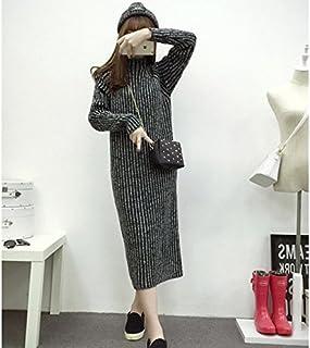HY-Sweater Maglia Versione Coreana del Collare Semi-Alto Misto a Maniche Lunghe a Maglie lavorate a Maglia con Le Donne a Righe più Lungo a Forma di Pezzo Allentato