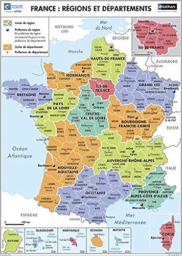 Amazon Fr Poster France Regions Et Departements Collectif Livres