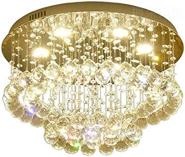 Modern Crystal Chandelier, Raindrop Pendant Lighting Fixtures, Flush Mount LED Ceiling Light Hanging Lamp for Living Room, Bedroom, Dining Room, 5 G10 Bulbs Required