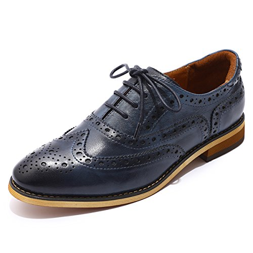 Mona flying Womens Leather Perforated Lace-up Saddle Oxfords Brogue Wingtip Derby Shoes Blue