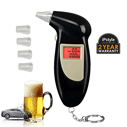 Alcohol Tester Breathalyzer keychain, iPstyle Portable Mini BAC Breathalyzer Alcohol Detector LCD Display with 5 Mouthpieces or Safety Driving