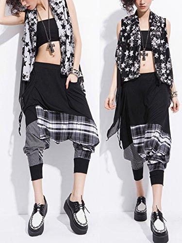 Damen Hingucker Haremshose Pluderhose Freizeithose Patchwork Design Streetwear Hip Hop in Mode - Schwarz Grau Gestreift Kariert