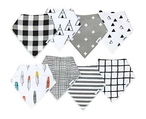 Baby Bandana Drool Bibs with Snaps, 8-Pack Organic Absorbent Drooling & Teething Bib Set by Matimati (Monochrome) by Matimati Baby (Image #1)