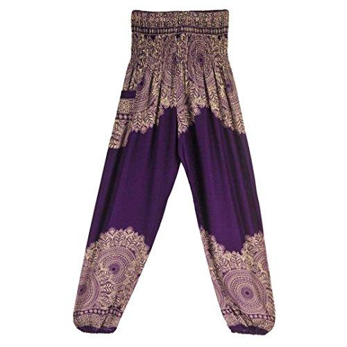 OOEOO Men Women High Waist Yoga Pants Thai Harem Boho Festival Hippy Smock Bohemia Trousers (Purple, Free Size) ()
