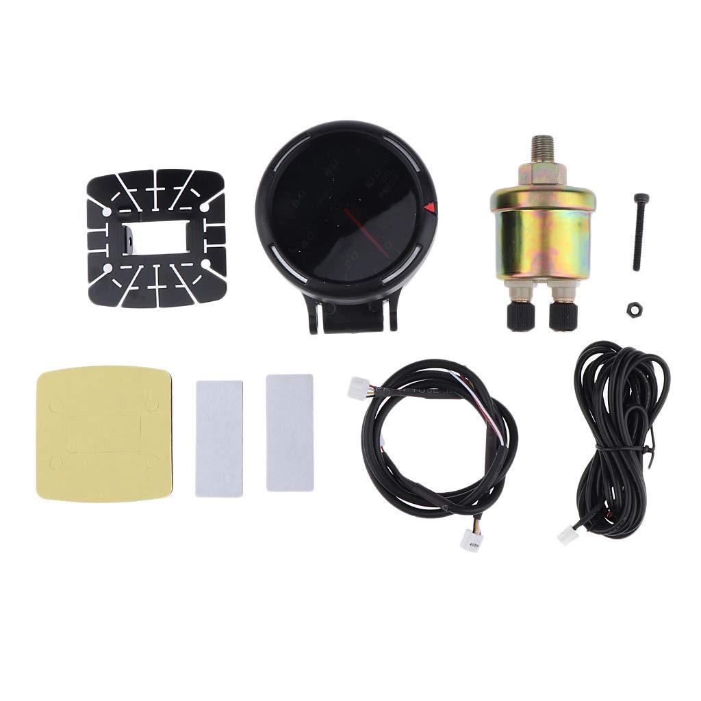 Almencla Electronic Oil Pressure Press Gauge Meter 52mm 0-1000KPa// 0-145PSI for 12V Car Vehicle Black