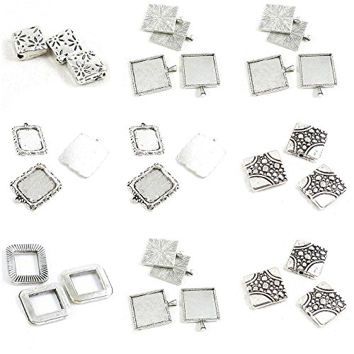 30 Pieces Antique Silver Tone Jewelry Making Charms Square Block Loose Beads Setting Cabochon Frame Blanks Base Blank Flower