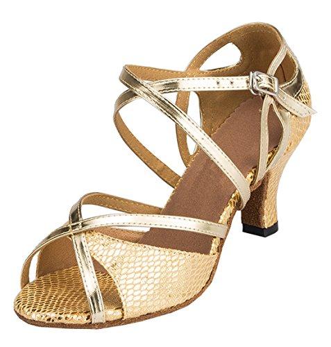 Tda Womens Comfort Comfort Cinturino Alla Caviglia Cuoio Serpenti Peep Toe Latino Tango Cha Cha Scarpe Da Ballo Moderne Oro