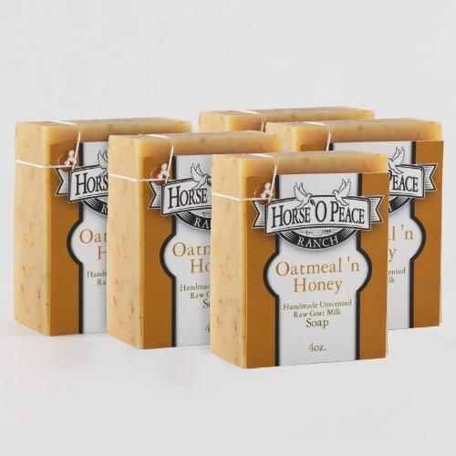 Handmade 100% Raw Goat Milk Oatmeal 'n Honey Soap (5 Pack)