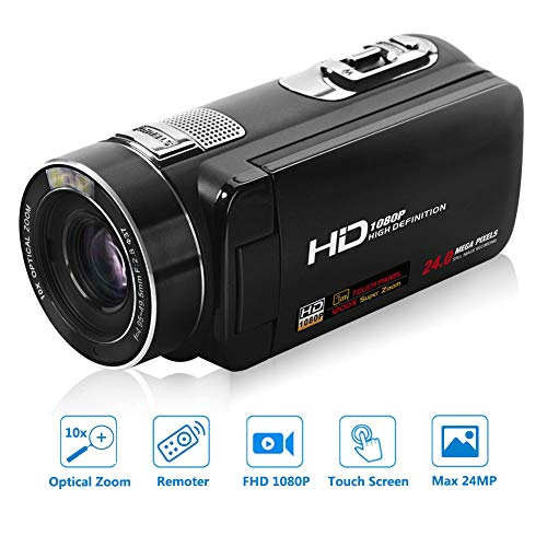 SEREE Video Camera Camcorder Full HD 1080p Digital Camera 24.0MP 10x Optical Zoom 270° Rotation Touch Screen with Remote Control