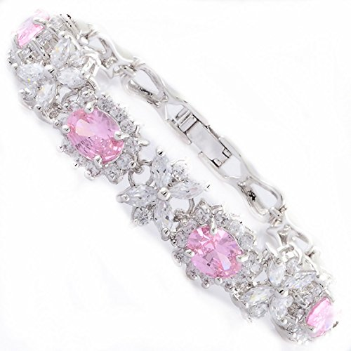 RIZILIA Blossom Tennis Bracelet & Oval Cut CZ [Simulated Pink Sapphire] in White Gold Plated, 7