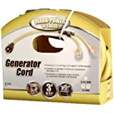 Coleman Cable 01934 3-Feet Generator Power Cord Adapter, 10/4 Splitter Y Adapter, L14-30P to (2) 10/3 Lighted 5-20R