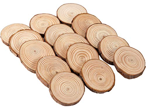 Alphatool 15 Pcs Natural Wood Slices, 2.4-2.8 Inches Unfinished Wooden Circles Slice Round Log Discs with Tree Bark for DIY Project, Craft, Christmas Ornament, Rustic Wedding Coasters Decoration]()