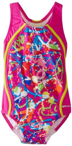 Speedo Big Girls'  Graphic Graffiti Sport Splice Swimsuit