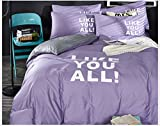 Hyun times Solid Cotton Four-piece Cotton 1.5m / 1.8m Bed Sheets (lotus Charge) Double Bed Linen Quilt Cover