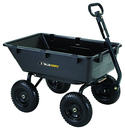 Garden Wagon - Gorilla Carts GOR6PS Heavy-Duty Poly Yard Dump Cart with 2-in-1 Convertible Handle, 1,200-Pound Capacity, Black