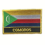 "Comoros Flag Patch / Embroidered Travel Patch Sew-On (Comoros Iron-On w/ words, 2"" x 3"")"