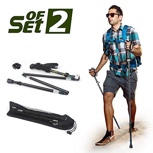 ELEPOWSTAR Trekking Poles,Collapsible Ultralight Hiking Poles,Folding Adjustable Climbing Walking Sticks Anti-Shock with EVA Foam Handle,Green