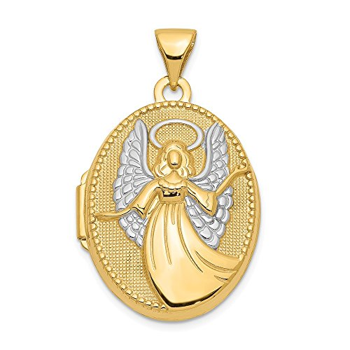 14K Yellow Gold 21mm x 18mm Guardian Angel Oval Shape Locket Pendant by Jewelry Pilot (Image #7)