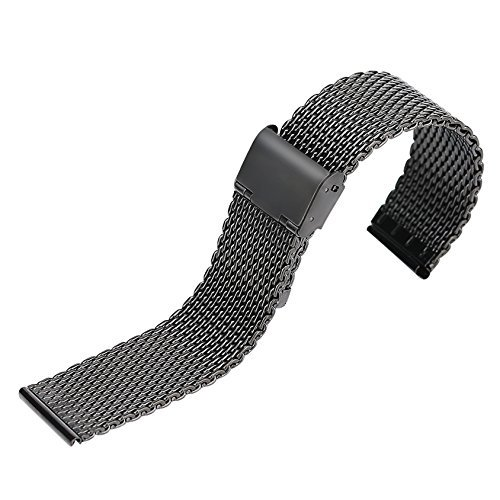 YISUYA 20mm Solid Milanese Mesh Stainless Steel Strap with Hook Buckle Classic Black Watch Band Straps 2.0cm