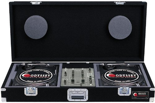 Battle Turntables - Odyssey CBM10 Carpeted Dj Coffin For A 10 Mixer And 2 Turntables In Battle Position With Recessed Hardware