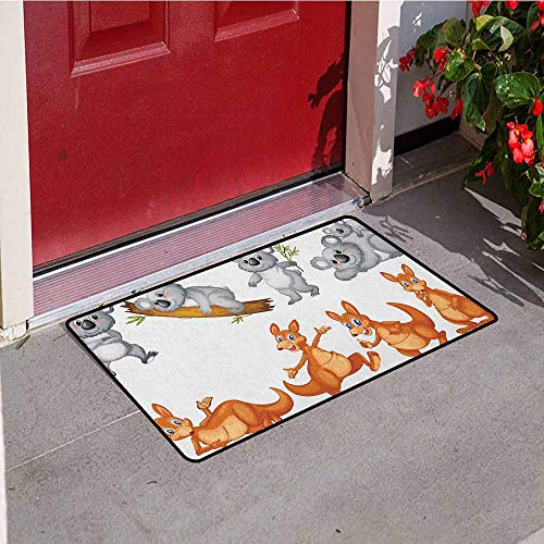 Gloria Johnson Tropical Animals Welcome Door mat Australian Baby Kangaroos and Koala Bears in Different Positions Art Print Door mat is odorless and Durable W31.5 x L47.2 Inch Grey Borwn ()