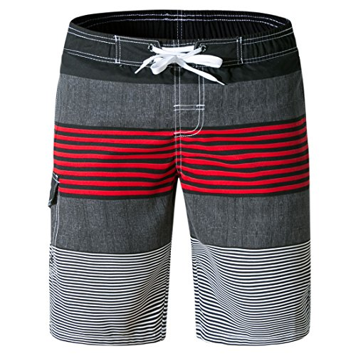 - Tailor Pal Love Men Bathing Suit Shorts with Pockets Stripes Board Shorts Colorful Elastic Beach Trunks for Water Sports XL Red