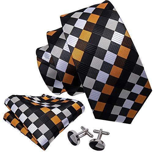 Classic Socks Set - Barry.Wang Classic Woven Silk Plaid Check Tie Set for Men