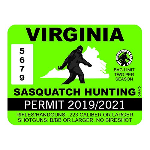 "RDW Virginia Sasquatch Hunting Permit - Color Sticker - Decal - Die Cut - Size: 4.00"" x 3.00"""