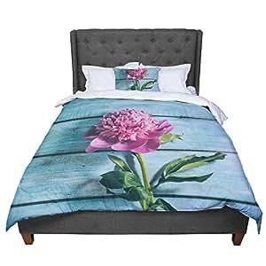 """KESS InHouse Nastasia Cook Peonie Teal Pink Queen Comforter, 88"""" X 88"""""""