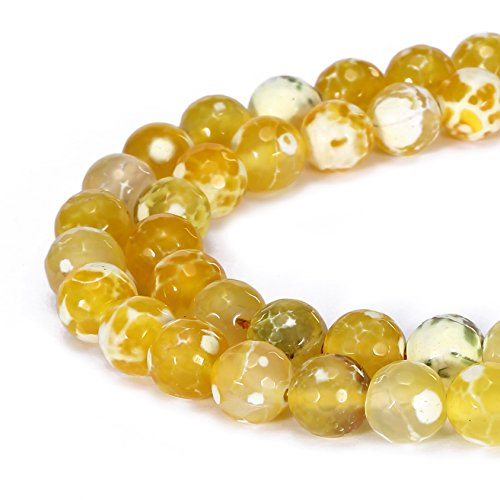 BRCbeads Gorgeous Natural Yellow Fire Agate Gemstone Faceted Round Loose Beads 8mm Approxi 15.5 inch 45pcs 1 Strand per Bag for Jewelry Making